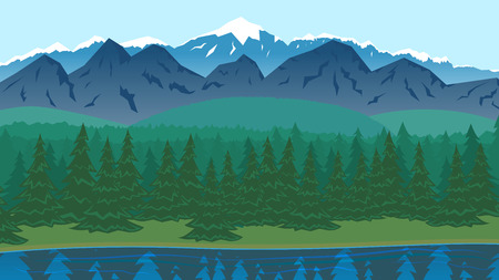 Forest landscape with pine trees, lake and mountains. Flat style. Vector nature landscape backgrounds with separated layers for game art and animation.