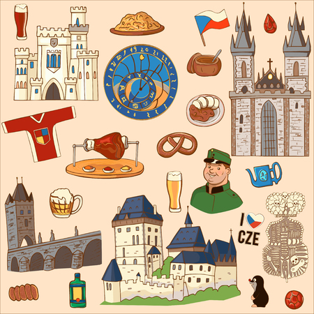 Czech Republic symbol. Set of icons and symbols Czech Republic: Charles bridge, watch, boar knee, ruby, national dishes, castle. Vectores