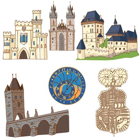 Czech Republic symbol. Set architectural symbols of the Czech Republic.  イラスト・ベクター素材