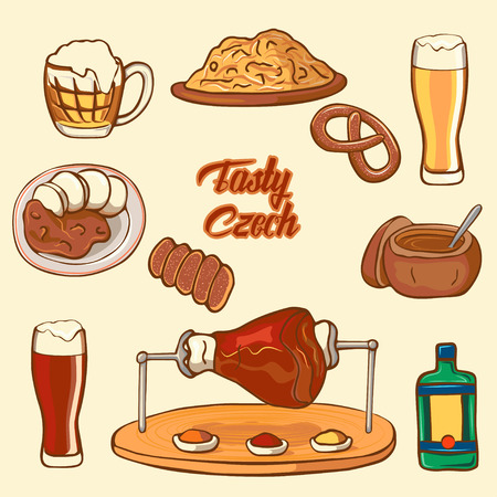Czech Republic symbol. Testy Czech. Set of icons national dishes: cabbage, beer, boar knee, pretzel, goulash, beer mug, trdelnik. Ilustracja