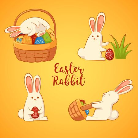 ard: Ð¡ard with Easter funny rabbits. Inscription - Easter rabbit. Four Easter bunny on a yellow background. Illustration