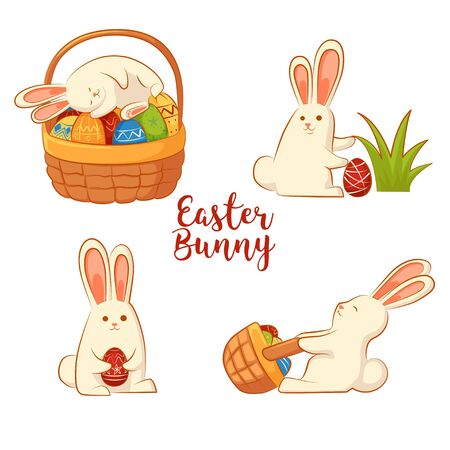 Сard with Easter funny rabbits. Inscription - Easter bunny. Four Easter bunny on a white background.
