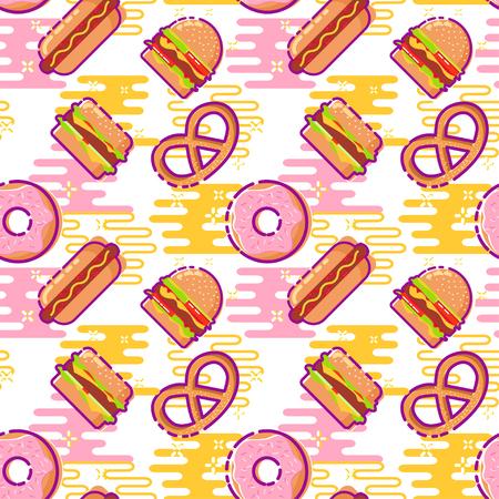 Colorful fast food flat design pattern. Seamless pattern with big burger, burger, pretzel, donut, cheeseburger, hot dog.