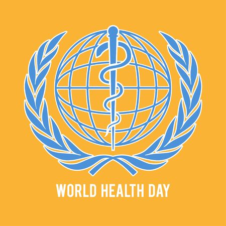 World health day symbol. Globe and the staff of Asclepius.