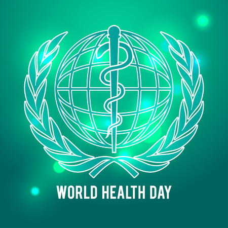 globe logo: World health day symbol. Globe and the staff of Asclepius. Green background.