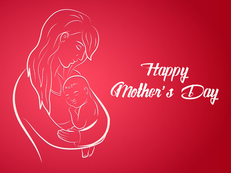 gently: Contour of a mother and her baby with text - Happy Mothers Day celebration. Vector illustration with beautiful woman and child.