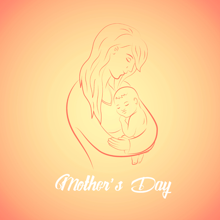 gently: Contour of a mother and her baby with text - Mothers Day celebration. Vector illustration with beautiful woman and child.