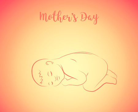 Sleeping baby with text - Mothers Day.