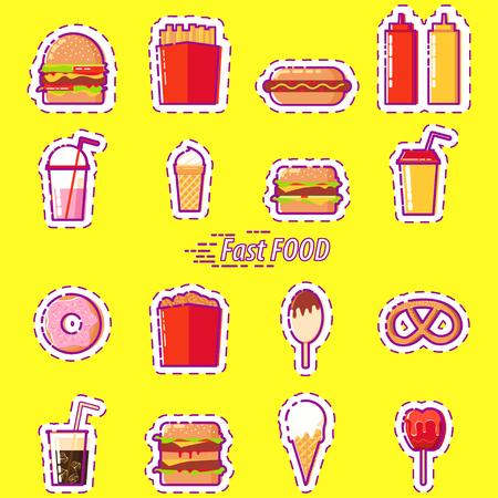 Ensemble d'icônes plats de Fast-Food coloré. Big burger, jus, soda, poulet, crème glacée, frites, ketchup, moutarde, hot-dog, cheeseburger, milkshake, beignet, glace, bretzel, soda, caramel.