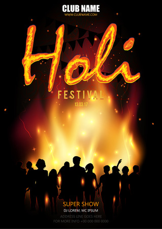 pichkari: Flyer, Banner or Pamphlet design for Indian Festival of Holi. People stand in front of the fire.