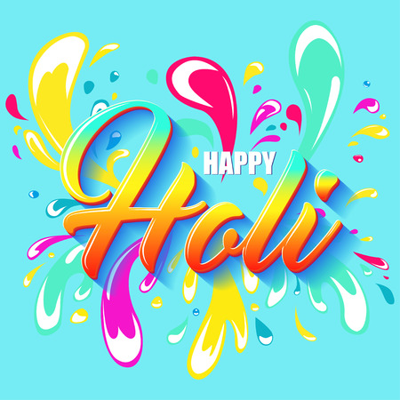 Colorful Flyer, Banner or Pamphlet design for Indian Festival of Colors. Happy Holi lettering. Splash colored water.