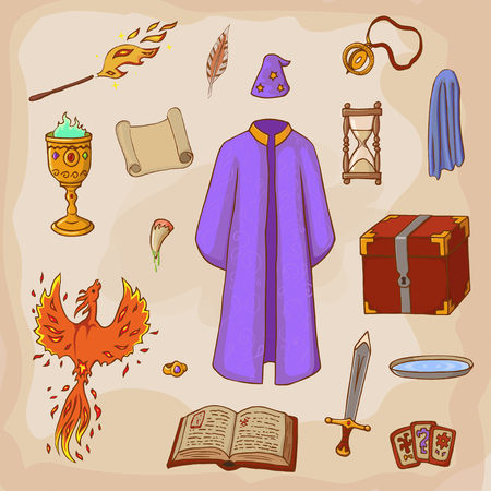 Set to play a wizard. Things magician: mantle, sword, cup, ring, chest, fang, Phoenix, hourglass, mantle of invisibility, cards. Different witch equipment in cartoon style.