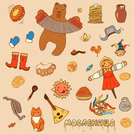 Maslenitsa o Shrovetide. Imposta gli elementi della settimana del pancake: pancake, bear, balalaika; tamburo; sole; spaventapasseri dell'inverno, panna acida, balalaika, fisarmonica. Iscrizione russa - Shrovetide. Stile cartone animato