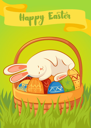 Card with sleeping the Easter Bunny on a yellow background. Basket with Easter eggs. Inscription - Happy Easter.