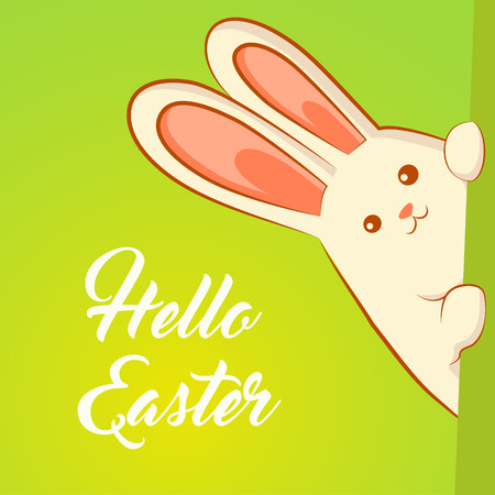 White Easter rabbit. Easter Bunny peeking out of the wall. Inscription %u2013 Hello Easter.