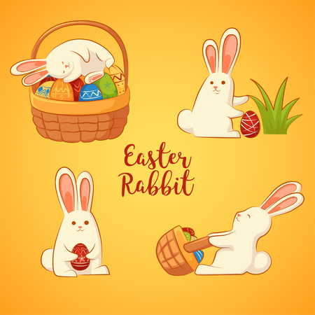 ?ard with Easter funny rabbits. Inscription - Easter rabbit. Four Easter bunny on a yellow background. Illustration
