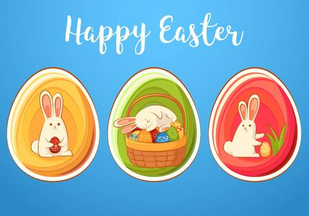 Сard with Easter funny rabbits. Three Easter eggs with bunnies. Inscription - Happy Easter.