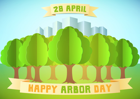 Arbor day illustration with forest and city over blue background. Template for Greeting Card, Poster and Banner. Happy Arbor Day. Paper style.