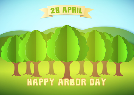 Arbor day illustration with forest and hills over blue background. Template for Greeting Card, Poster and Banner. Paper style.