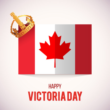 Gelukkige Victoria Day kaart met Canada vlag en kroon. Vector Illustratie