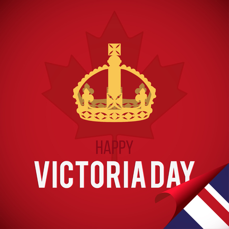 Happy Victoria Day card with maple leaf and crown.