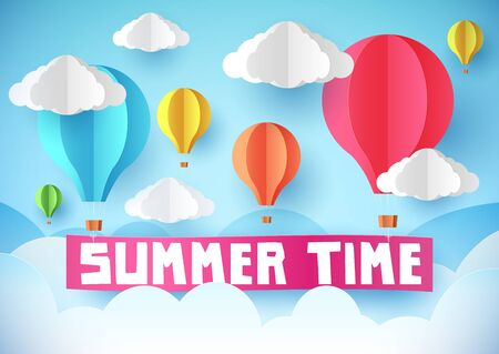 Summer time flyer, banner or poster. Air balloons raise the banner. Paper style.