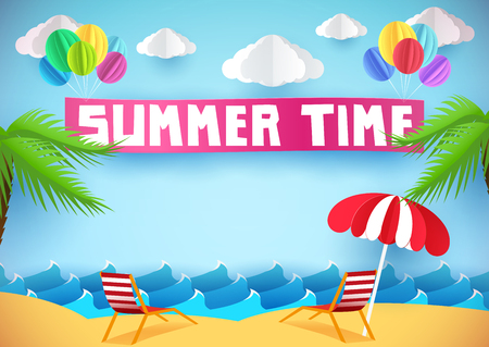 paper umbrella: Summer time flyer, banner or poster. Beach and chaise lounges. Paper style