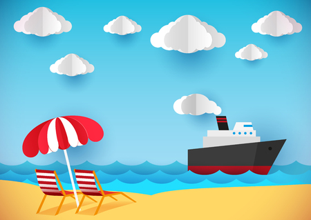 voluminous: Summer flyer, banner or poster. Beach, chaise lounges and ship. Paper style. Illustration