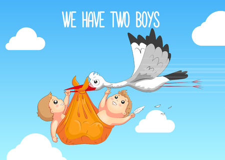 Baby shower card. Stork carrying a cute baby in a bag. We have two boys. Baby boy announcement card template.