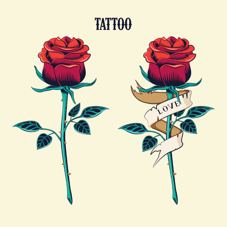 Tattoo set. Isolated tattoo roses. Old School Tattooing Style Ink rose.