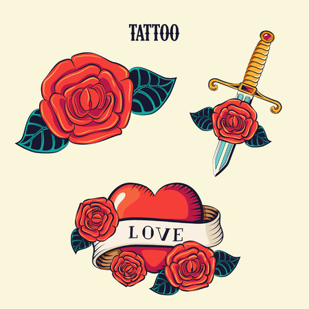 Tattoo set. Isolated tattoo roses and heart. Old School Tattooing Style Ink rose.