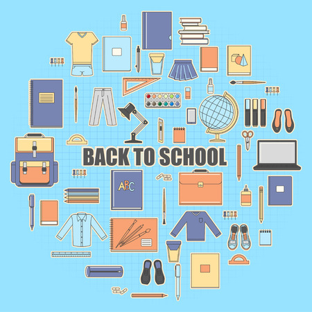 case: Back to School banner. Set of school objects: eraser, pens, brush, ruler, notebook, globe, laptop, scissors, school uniform, glue, shoes, lamp, desk, schoolbag.