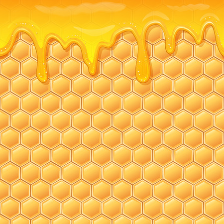 Dripping honey seamlessly repeatable. Honey splash dripping sweet drops from bee honeycomb poster for beekeeping honey, honey shop or bakery. Illustration