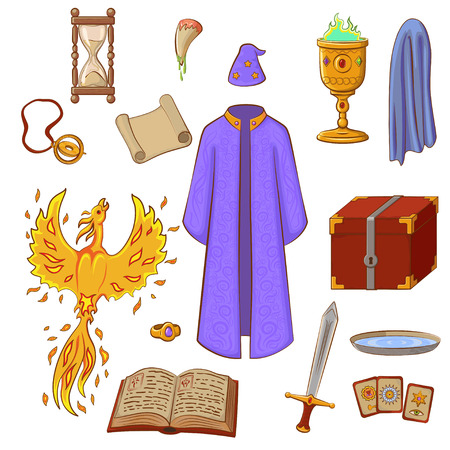Set to play a wizard. Things magician: mantle, sword, cup, ring, chest, fang, Phoenix, hourglass, mantle of invisibility, cards. Magic things in cartoon style. Çizim