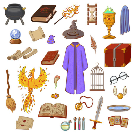 Big set to play a wizard. Things magician: wizard, hat, magic book, scroll, potion, broom, crystal ball, snitch, mantle, sword, cup, ring, chest, fang, Phoenix, hourglass, mantle of invisibility, cards. Magic things in cartoon style.