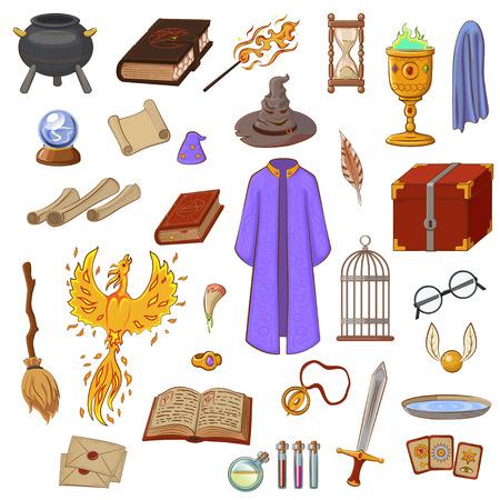Juego grande para jugar un mago. Cosas mago: mago, sombrero, libro mágico, rollo, poción, escoba, bola de cristal, hocico, manto, espada, anillo, pecho, colmillo, Phoenix, reloj de arena, manto de invisibilidad, tarjetas. Cosas mágicas en estilo de dibujos animados. Ilustración de vector