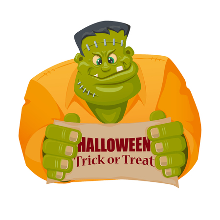 Frankenstein monster character in cartoon style. Banner with sign - Halloween. Trick or treat.