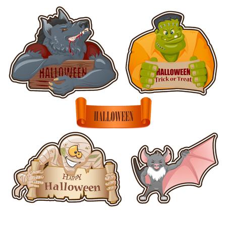 Set of characters for Halloween: Werewolf, Frankenstein monster, mummy, bat. Halloween banners. Cartoon style.