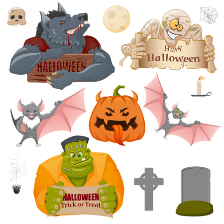 Set of Halloween related objects and creatures: pumpkin, Werewolf, Frankenstein monster, mummy, moon, candle, spider, cross and bat. Set of cartoon Halloween icons for design. Halloween symbols.