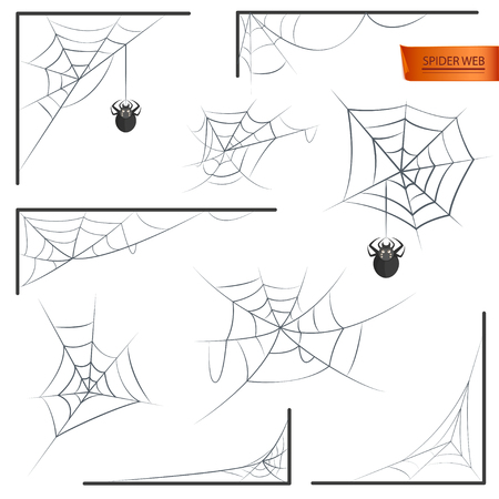 Spider web monochrome as Halloween accessory isolated on white background