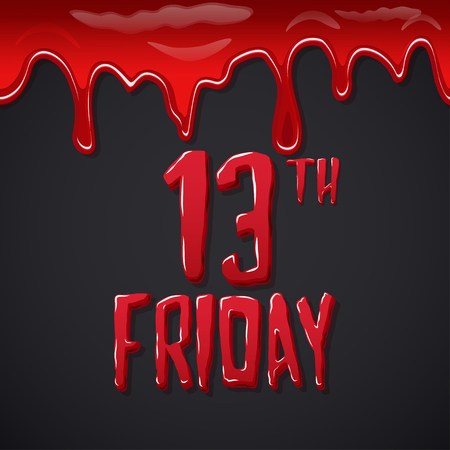 Friday the 13th bloody lettering over black background