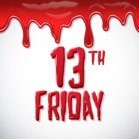 Friday the 13th bloody lettering over white background Illustration