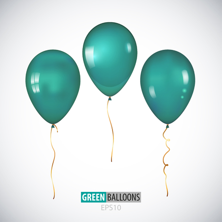 Realistic 3D transparent green helium balloons isolated on white background. Set of metallic balloons for your design.