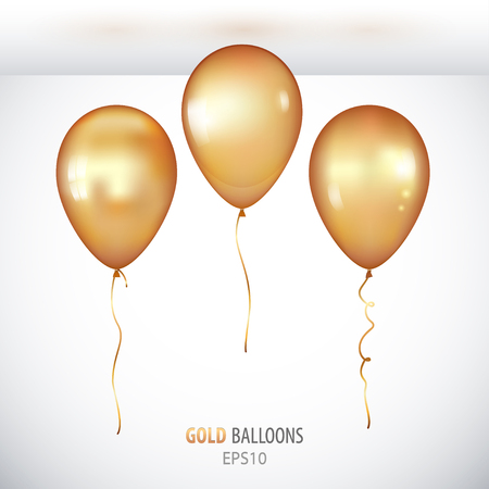 Realistic 3D gold helium balloons on white background. Set of shiny balloons for your design.