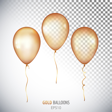 Realistic 3D transparent Gold helium balloons isolated on white background. Set of shiny balloons for your design. Illustration