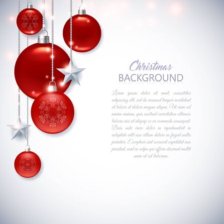 Elegant white Christmas background with frosted and glossy red Christmas balls, stars and sparks.