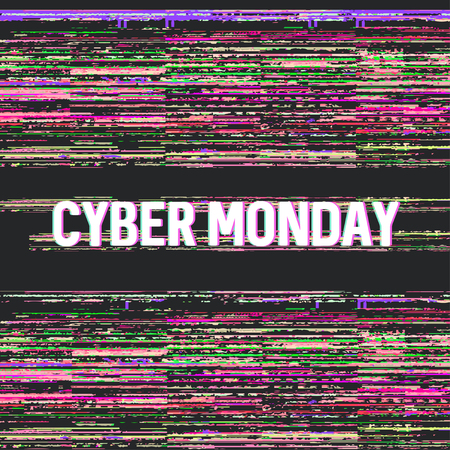 Online shopping and marketing concept banner for cyber monday sale with glitch effects vector illustration. Ilustração