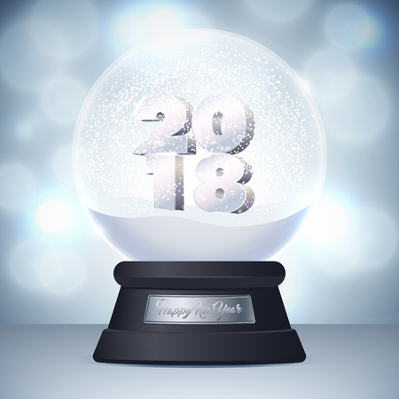 Illustration of realistic snow globe ball. Nameplate with the inscription Happy New Year. Blue background with bokeh.