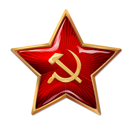 Red star with hammer and sickle. Star like a Soviet soldier.