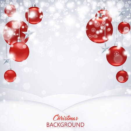 Elegant Christmas background with red frosted and glossy Christmas balls, stars and snowflakes. Standard-Bild - 125861569